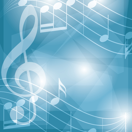 abstract blue music background with notes - vector