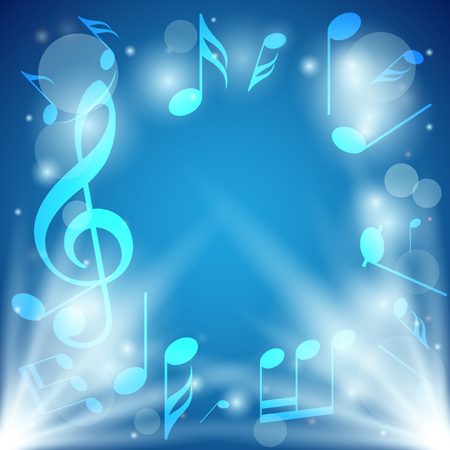 melodic: bright blue abstract background with notes and bokeh - vector. Eps in RGB.