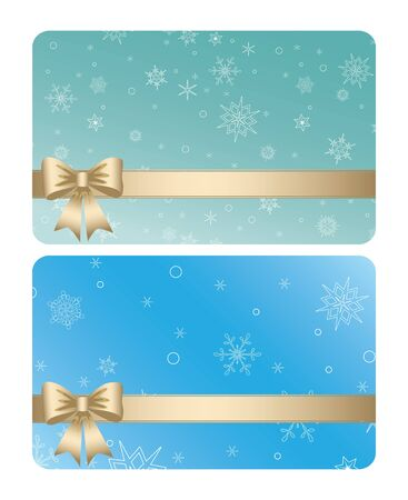 blue and green gift cards with ribbons for christmas holidays - vector