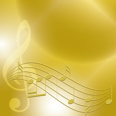 golden music background with notes - vector