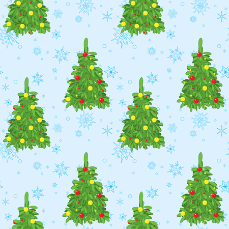 blue vector background with christmas trees and snowflakes Illustration