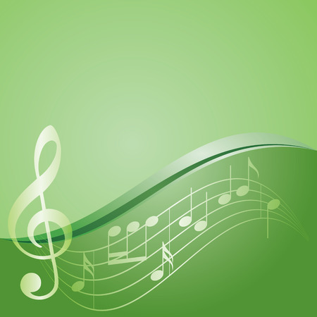 melodic: green vector background - curved music notes