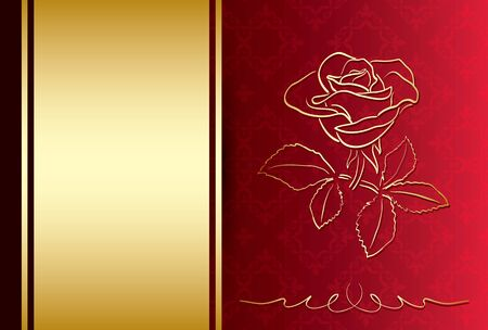 red and gold background with rose - vector card