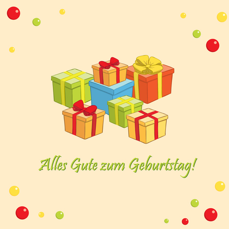 Alles gute zum Geburtstag - vector greeting card with gifts