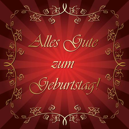 Alles gute zum Geburtstag - bright red greeting card Illustration