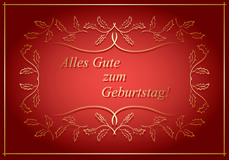 Alles gute zum Geburtstag - bright red vector greeting card with floral frame Illustration