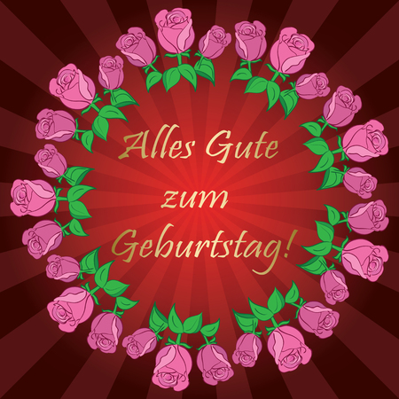 red vector background with roses and rays - Alles gute zum Geburtstag - Happy birthday