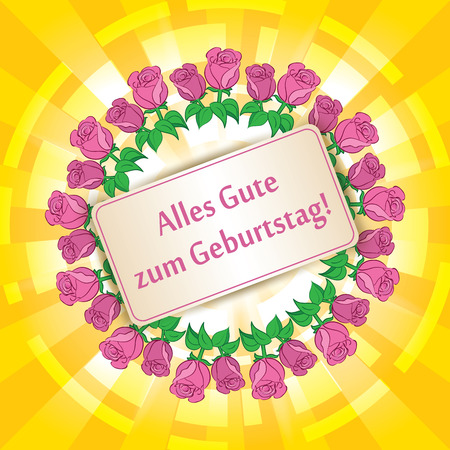 Alles gute zum Geburtstag - Happy birthday - yellow background with roses