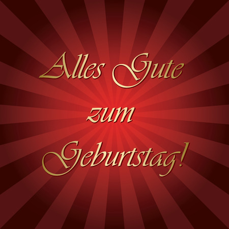 Alles gute zum Geburtstag - red vector greeting card with gradient