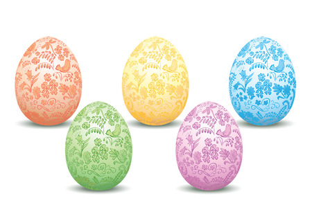 decorative easter eggs - vector floral ornament