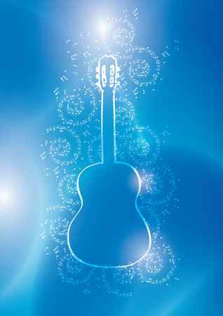 light contour of guitar with music notes on blue vector background Illustration