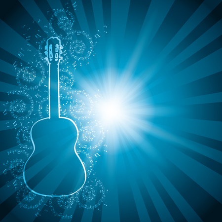 melodic: blue vector background with music notes and guitar - rays from center