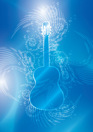 melodic: blue background with guitar and music notes - vector abstractions