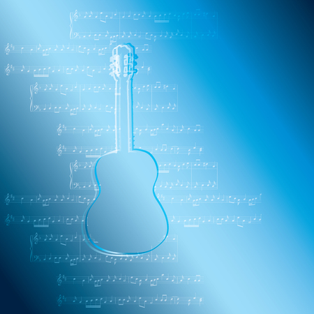 blue gradient background with guitar and music notes - vector illustration