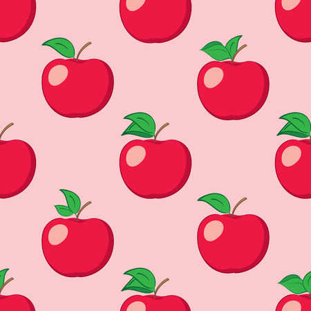 Rosy seamless background with red apples vector pattern