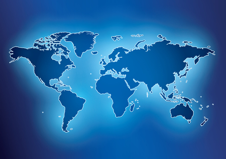 bright blue background with map of the world and contour - vector. Eps in CMYK.