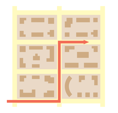 city blocks and arrow that showing direction - vector map Illustration