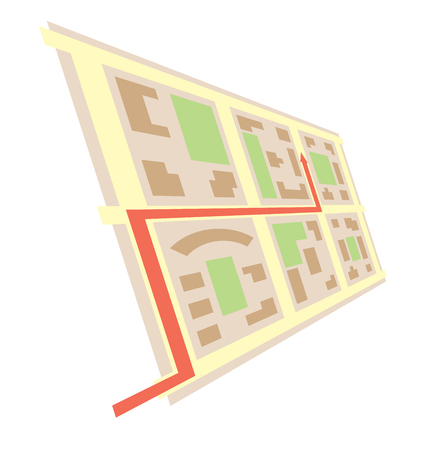 rotated map in perspective and red arrow  - vector city blocks Illustration