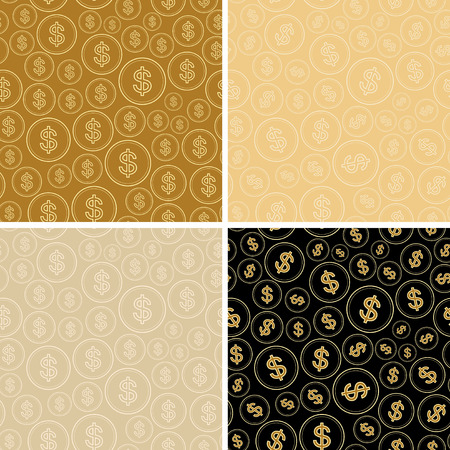 beige and black backgrounds with dollars - vector dollar seamless patterns