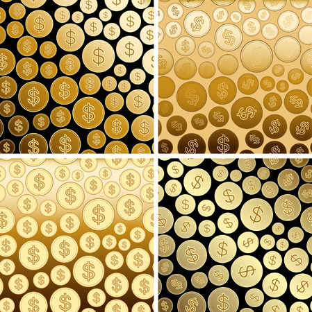 backgrounds with golden dollars - gold vector gradient coins