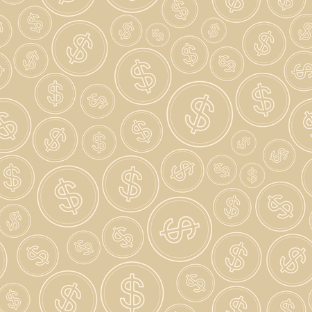 pastel background with dollars - vector seamless pattern