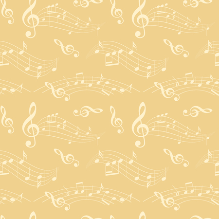 seamless pattern with wavy music notes - light beige vector background