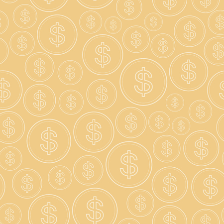 light beige background with dollars - vector seamless pattern
