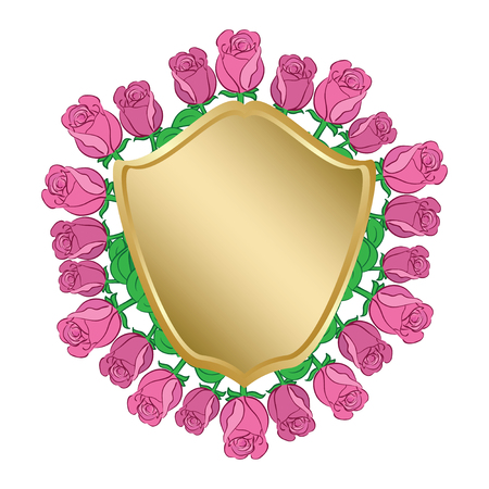 golden shield with red roses - vector frame