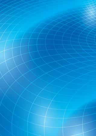 blue vector background with curved grid - template for flyer Illusztráció