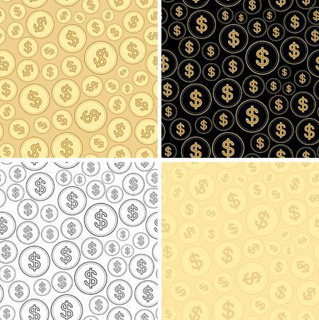 Set of backgrounds with dollars - vector finance seamless patterns