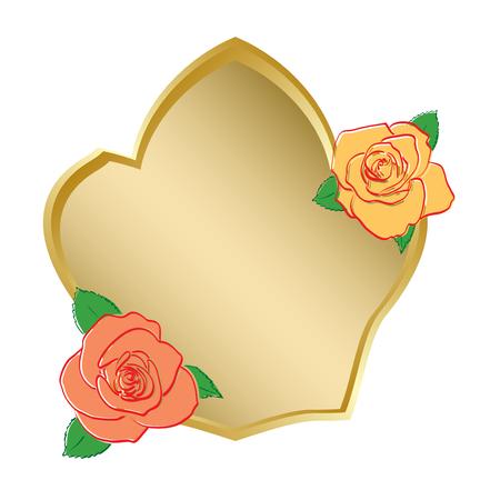 バラ ベクトルと金色の盾  イラスト・ベクター素材
