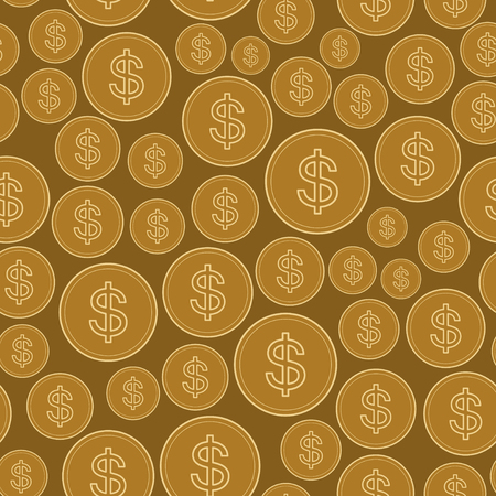 seamless pattern with dollars -  golden vector background of coins Иллюстрация