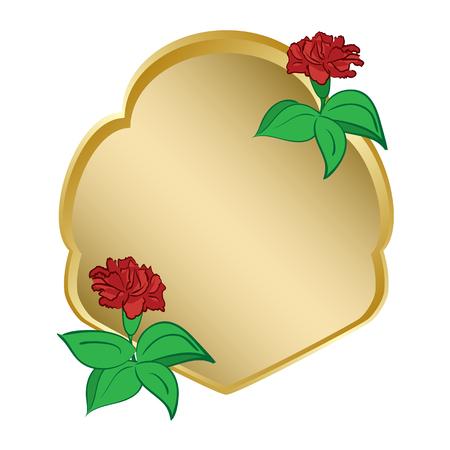 golden shield with carnation - vector  Illustration