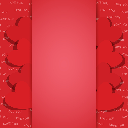 A red background for valentine day with red hearts - vector love you Illustration