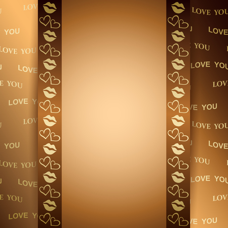 A golden background for valentine day with text - vector love you