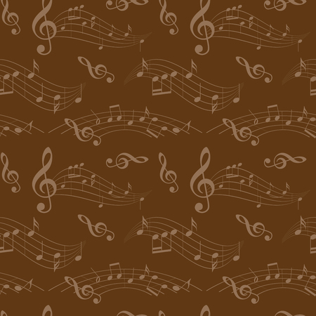 A dark brown seamless pattern with wavy music notes - vector background