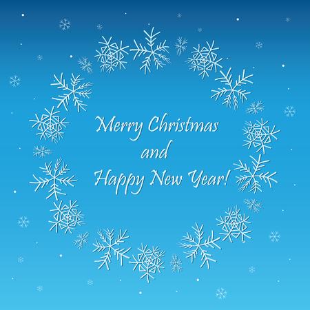 blue vector background with frame and snowflakes - merry christmas and happy new year Illustration