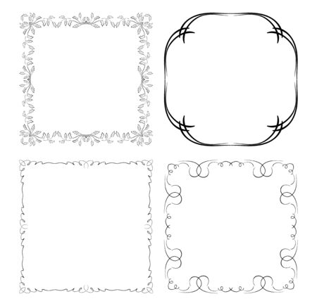 decorative square frames with curved ornament - vector