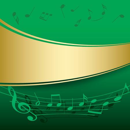 Fondo verde con notas musicales - vector flyer Foto de archivo - 91964909