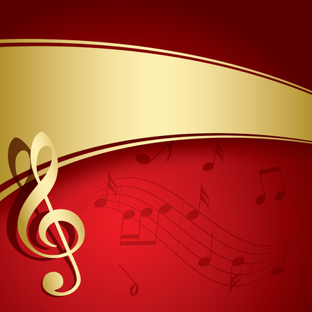 red background with gold decorations - vector music flyer