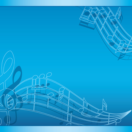 blue background with music notes - vector flyer
