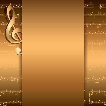 dark gold background with music notes - vector musical flyer Illustration