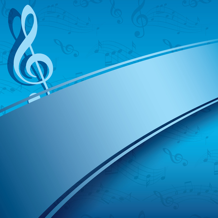 Blue pattern  with music notes. Illustration