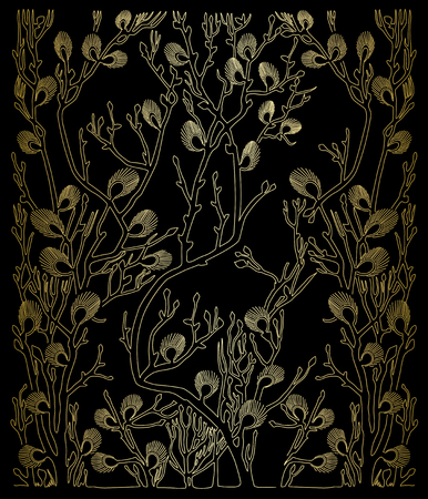 Black pattern with gold spring branches and gradient.