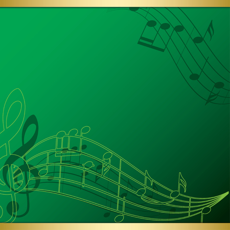 bright green background with music notes - Vector illustration.