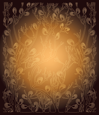 vector background with spring branches - golden illustration