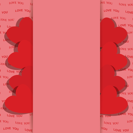 pink background for valentine day with red hearts - Vector illustration.