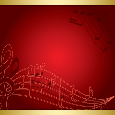 Dark red background with music notes - vector musical flyer. 矢量图像