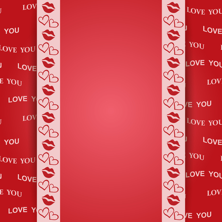Red background with kiss and hearts - vector love you. Illustration
