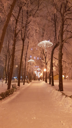 at park in Kharkiv with decorations - January 2017 Ukraine Stock Photo